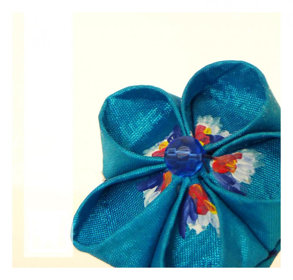 Turquoise valentines ring 5petals fabric flower -Hand-painted