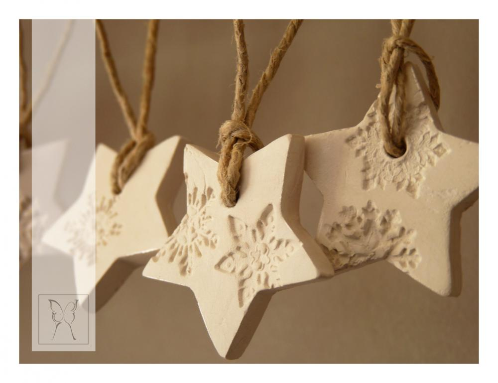 5 snowflake ornaments, white and pearl porcelain, star shaped