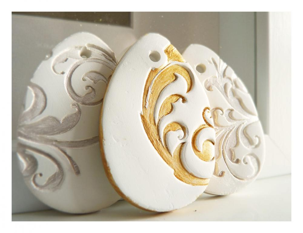 Golden French Easter decoration, white ceramic, gold painted.