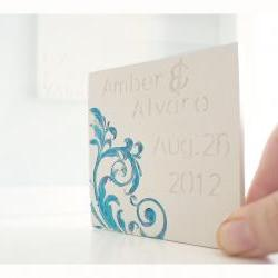 Ceramic wedding card- Floral swirls.Customizable