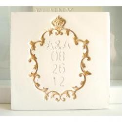 Ceramic wedding card- golden Frame.Customizable